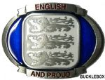 ENGLISH and PROUD BELT BUCKLE + display stand. Product Code: TB6